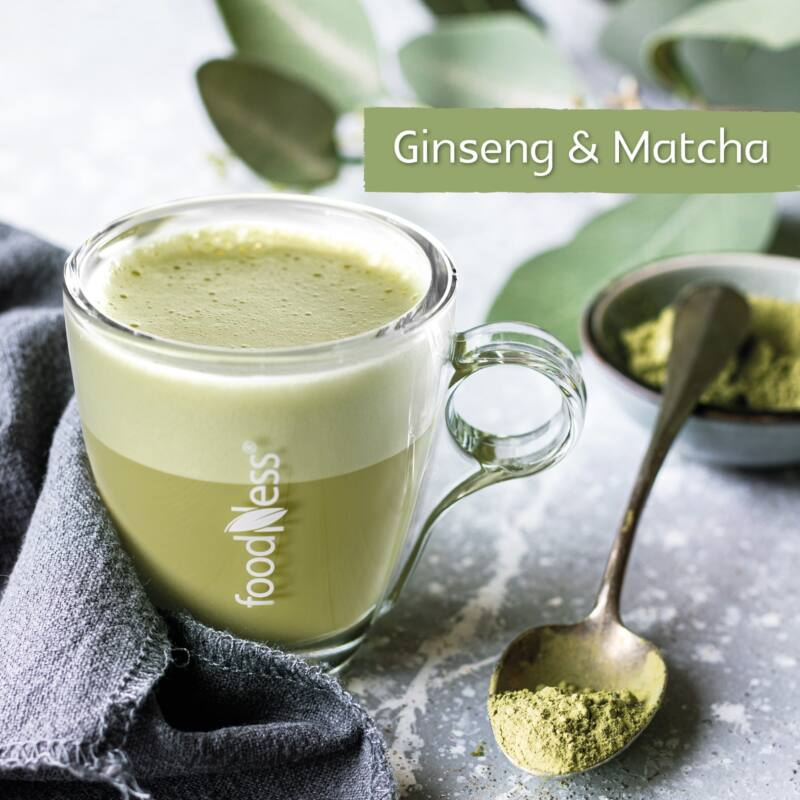 Ginseng és matcha wellness ital